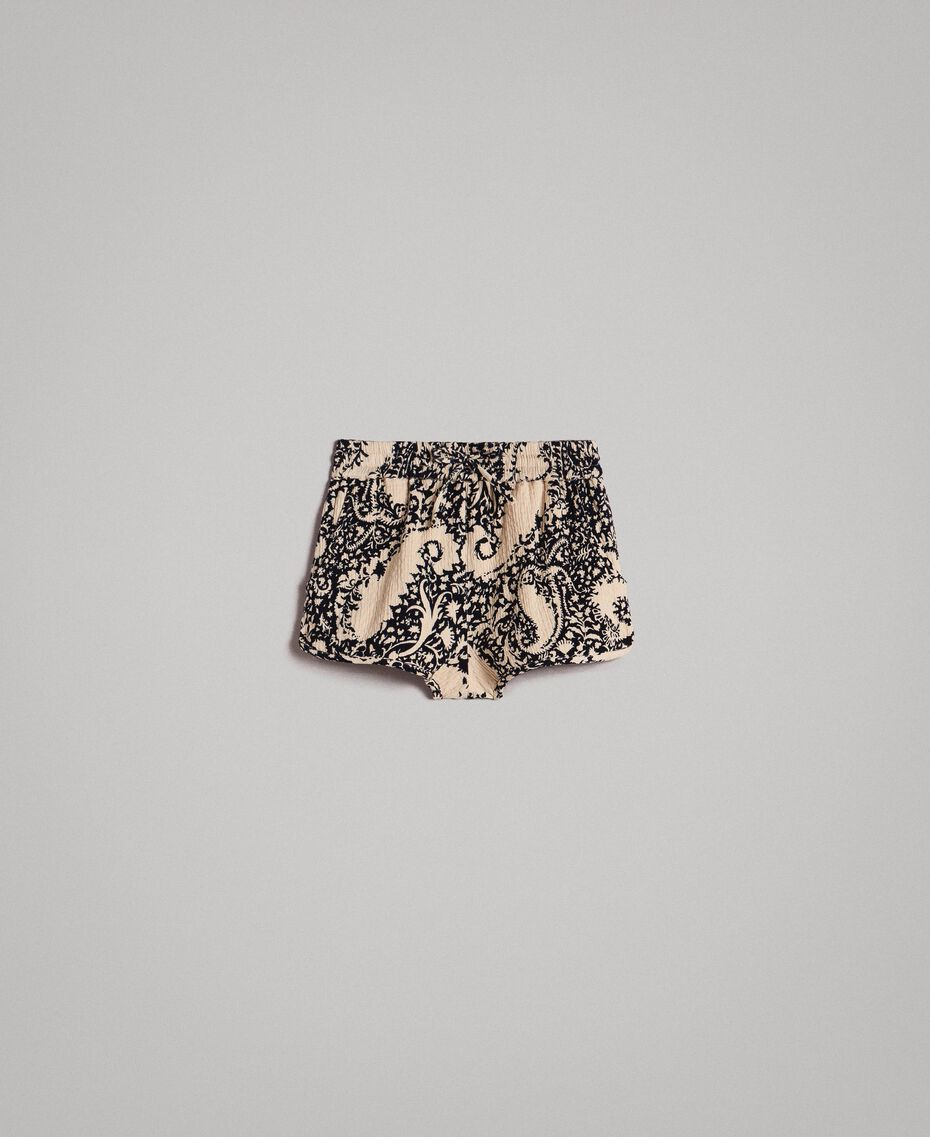 Matelassé cotton print shorts Stamped Print Woman 191TT2192-0S