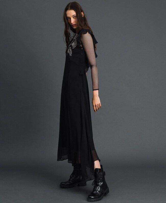Long georgette dress with floral embroidery Black Woman 192TP2161-03
