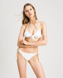 "Glitter triangle bikini top with bow ""Milkway"" Beige Woman 191LBM322-02"