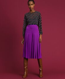 Trouser-skirt with pleats and logo Purple Woman 192ST2164-02