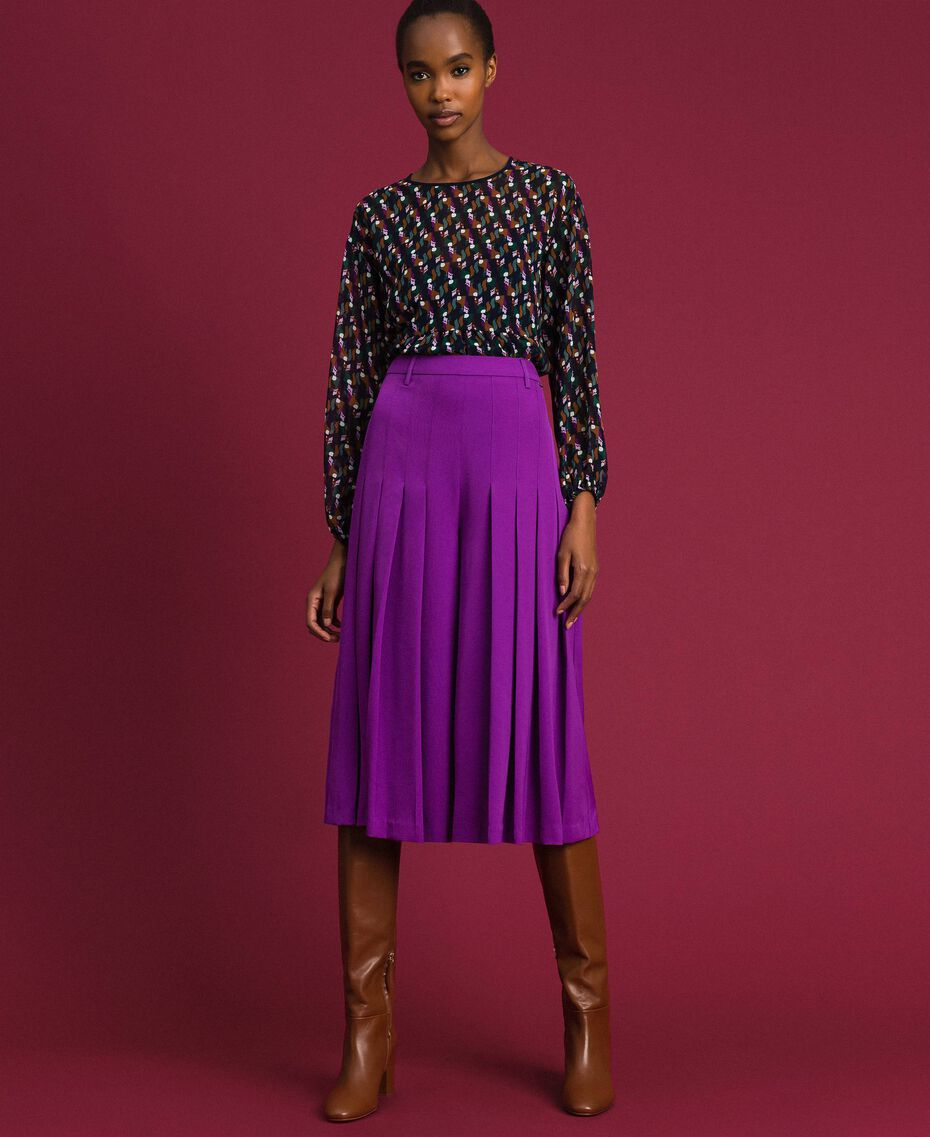 Jupe-culotte avec plis et logo Violet Femme 192ST2164-02