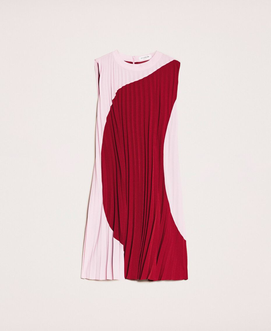 "Pleated crêpe de Chine dress Two-tone ""Crimson"" Red / ""Candy"" Pink Woman 201ST2011-0S"