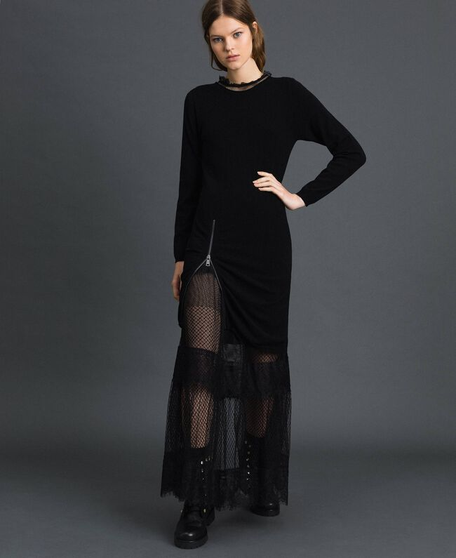 Robe longue avec patchs en tulle, dentelle et plumetis Bicolore Noir / Nude Femme 192TP2332-0T
