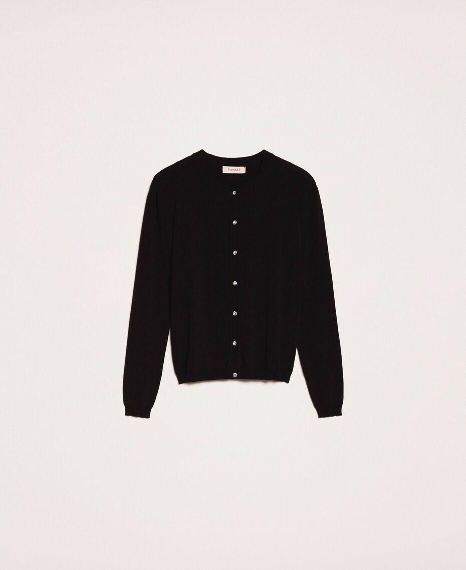 Cardigan gilet orné de boutons en strass Noir Femme 201TP3100-0S