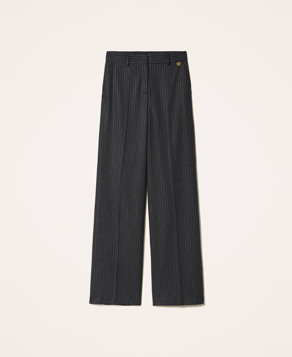 Pantalon ample en laine mélangée Rayé Noir / Or «Lurex» Femme 202TT2171-0S
