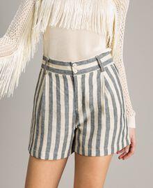 "Two-tone striped linen shorts Two-tone Black / ""Marzipan"" Beige Woman 191TT2312-05"