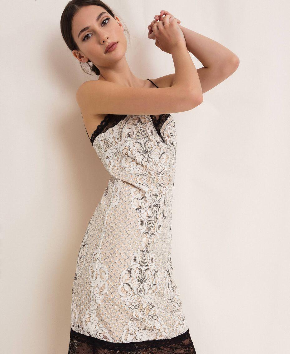 Кружевное платье-комбинация с вышивками Слоновая кость женщина 201TP2463-02