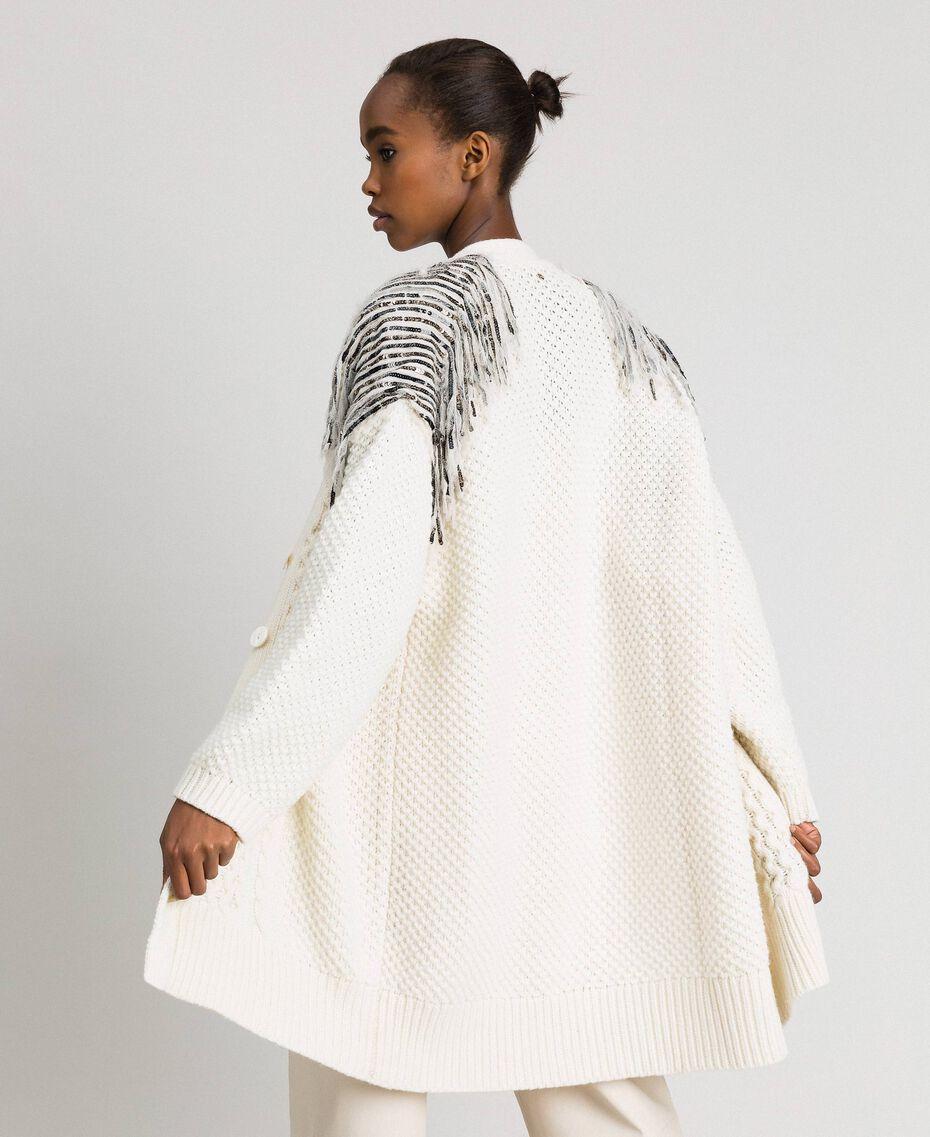 Maxi cardigan avec franges et sequins Blanc Neige Femme 192TT3230-06