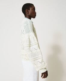 Crochet cardigan with fringes White Snow Woman 211TT3260-03