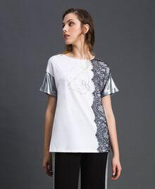 Lace and micro studs T-shirt Black / Optical White Woman 192LI2WAA-02