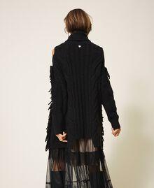 Maxi pull en laine et alpaga avec broderie Noir Femme 202TT3353-05