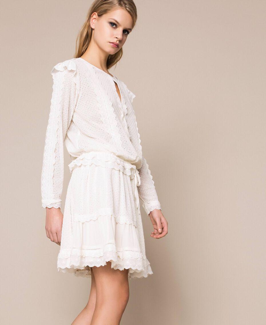 Blouse en broderie anglaise Blanc Neige Femme 201TP2492-02