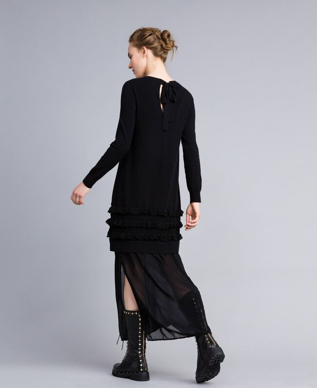 Knitted dress with ruches and inlay Black Woman PA83CR-03