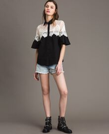 Poplin shirt with lace inlays Black Woman 191TT2120-03