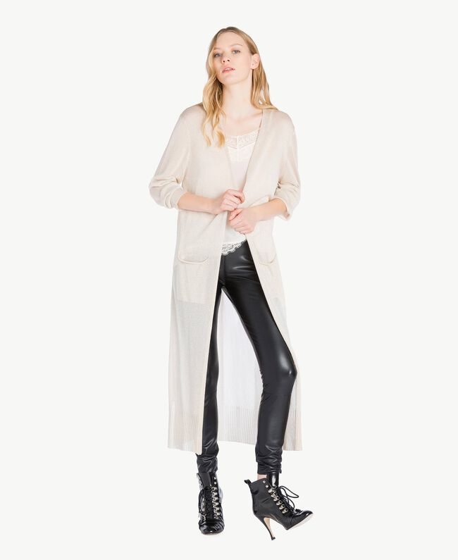 Long lurex cardigan Platinum Lurex Woman PS83ZD-01