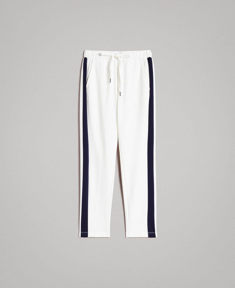 Pantaloni con bande laterali a contrasto Bicolore Bianco  Seta / Midnight Blu Donna 191TP2076-0S