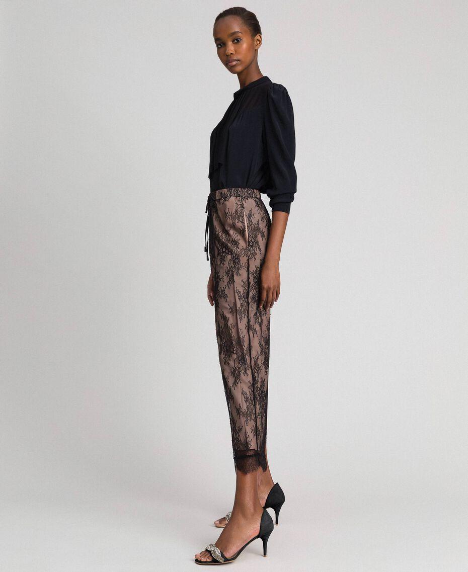 Pantaloni a palazzo in pizzo Nero Donna 192TP258E-02