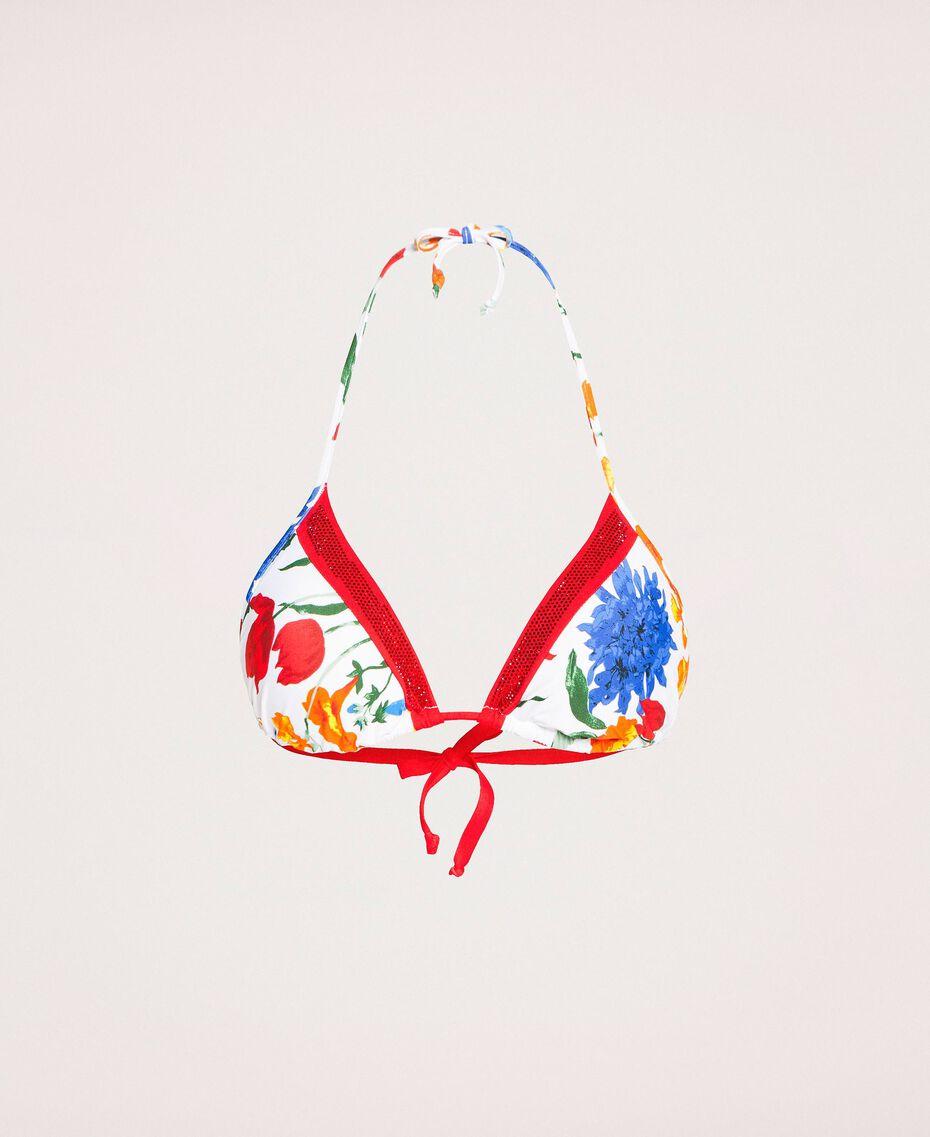 Triangle bikini top with rhinestones Optical White Floral Print Woman 201LMMM22-0S