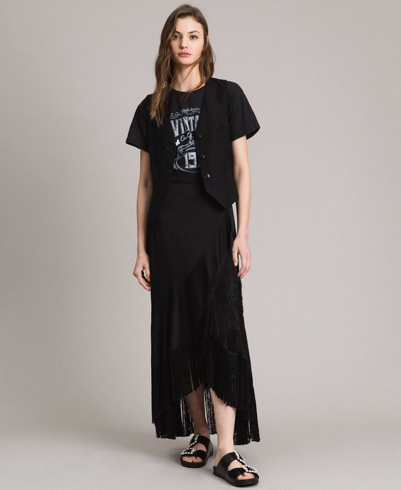 Fringe mid-length wrap skirt