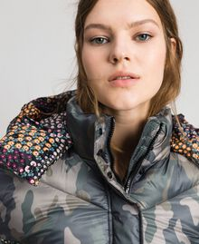 Short puffer jacket with camouflage and floral print Camouflage Print / Floral Woman 192TT2180-05