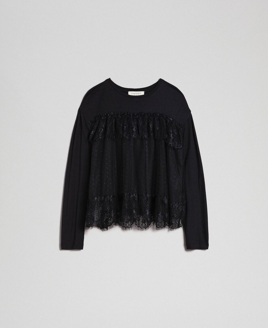 T-shirt with lace and tulle flounces Black Child 192GJ2320-0S