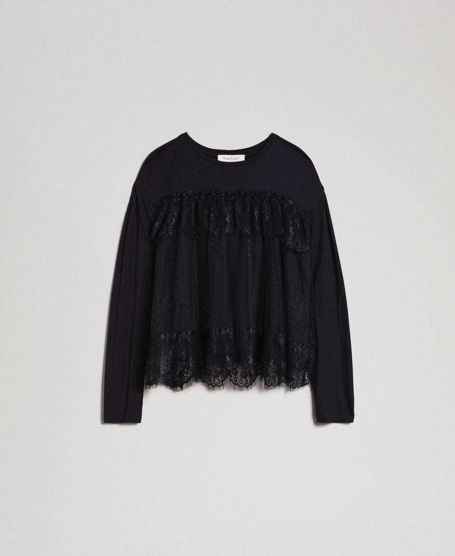 Shirt mit Volants aus Spitze und Tüll Schwarz Kind 192GJ2320-0S
