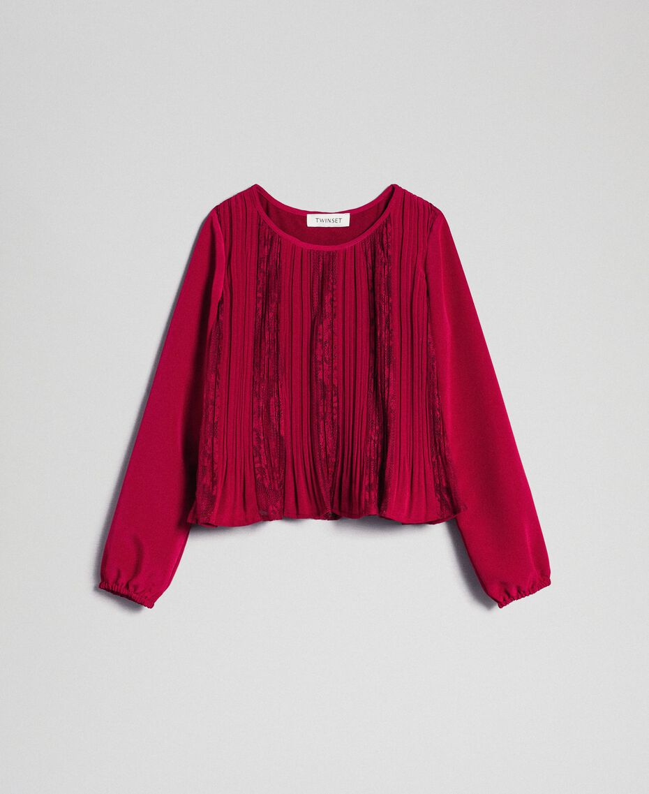 Pleated crêpe and lace blouse Ruby Wine Red Child 192GJ2520-0S