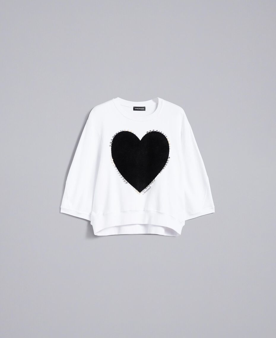 Sweat en coton avec cœur floqué Blanc Femme PA82CD-0S
