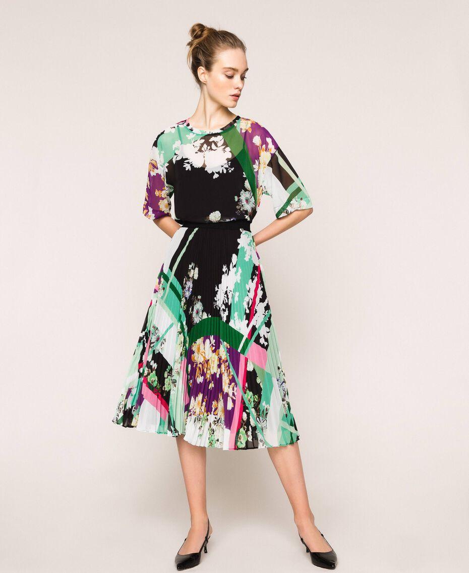 Pleated georgette midi skirt Black Scarf Print Woman 201MP2363-01