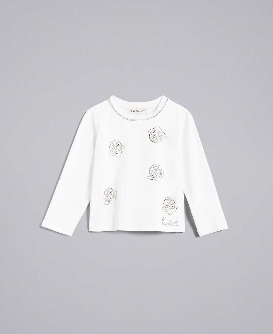 T-shirt in jersey con strass Off White Bambina FA82SP-01