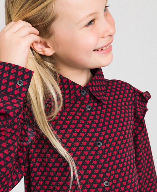 Camicia in crêpe stampata a cuori Stampa Cuoricini Bambina 192GJ2531-01