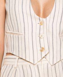 Pin stripe linen cropped waistcoat Antique White Pin Stripe / Blue Woman 201TT2304-04