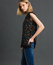 Top avec imprimé floral et dentelle Imprimé Petites Fleurs Noir Femme 192MP222A-01