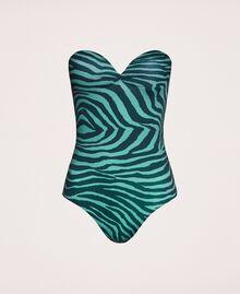 "Printed one-piece swimsuit ""Atlantic Deep"" Green Zebra Print Woman 201LBMGZZ-0S"