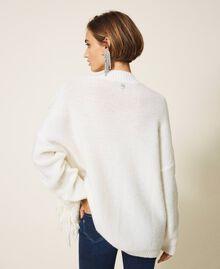 Maxijersey de lana y alpaca con bordado Blanco Nata Mujer 202TT3355-04
