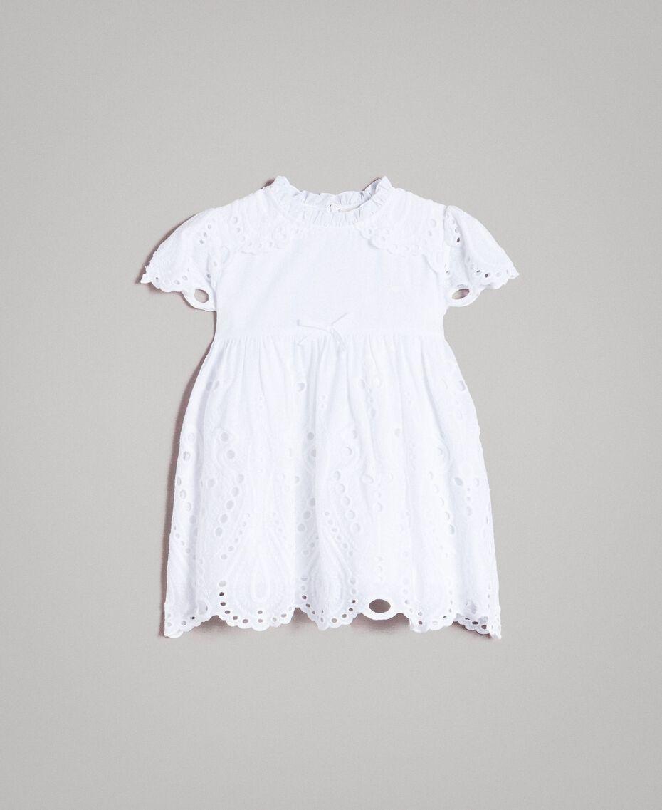 Musselin-Kleid mit Lochstickerei-Verzierung Weiß Kind 191GB2620-01