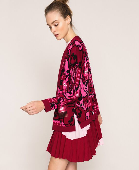 Printed cardigan with sequins