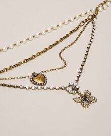"""Multi-round necklace with pearls, chains and rhinestones """"Aged Coppery Brass"""" Gold Woman 201TA430C-02"""