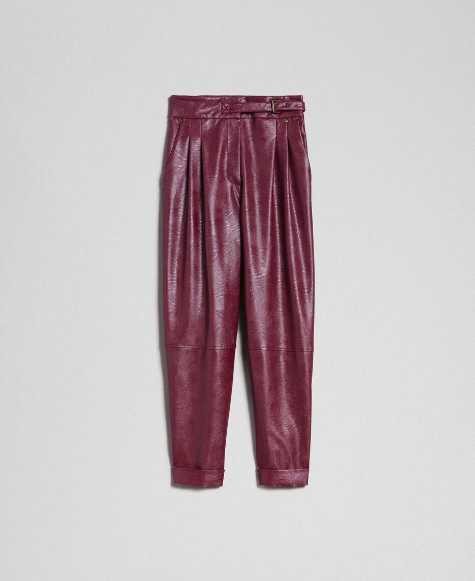 Широкие брюки из искусственной кожи Красный Бархат женщина 192TT203C-0S