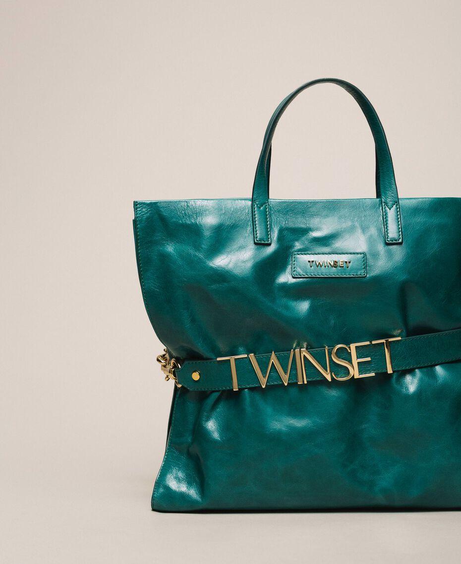 Leather shopper with logo Python Woman 201TA7090-01