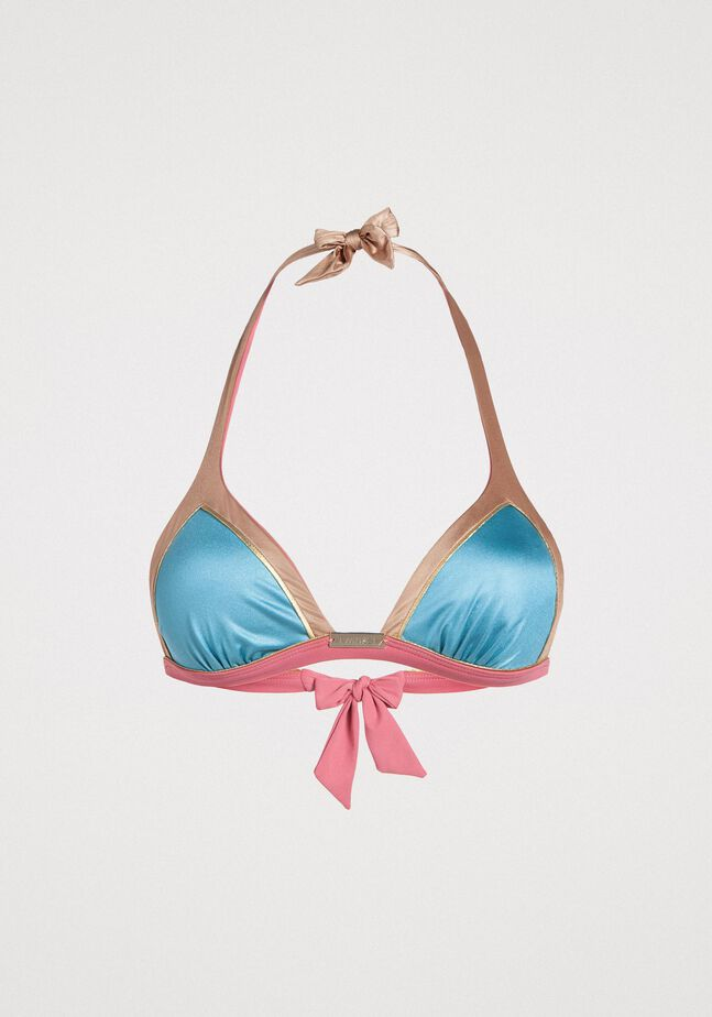 Triangel-Bikinitop im Color-Block-Look
