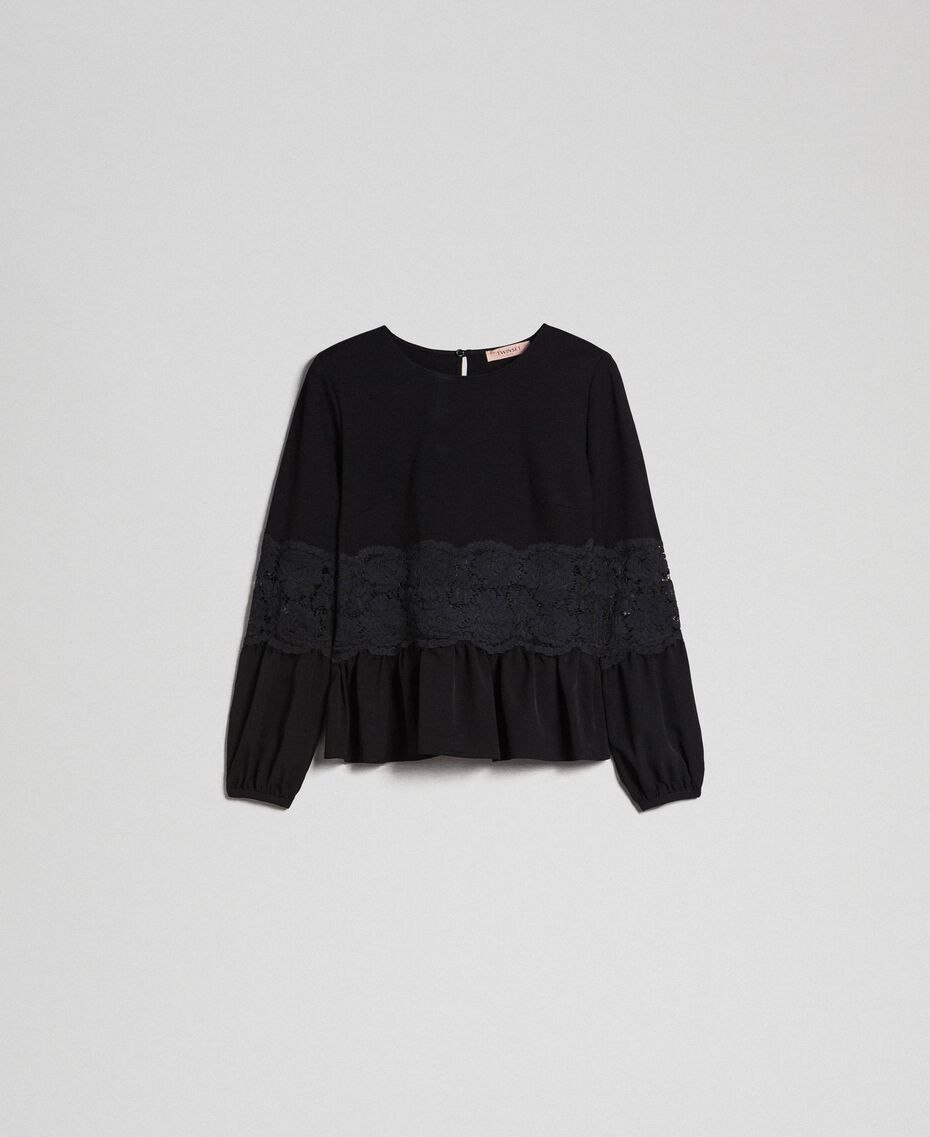 Blouse with macramé lace and flounce Black Woman 192TT2213-0S