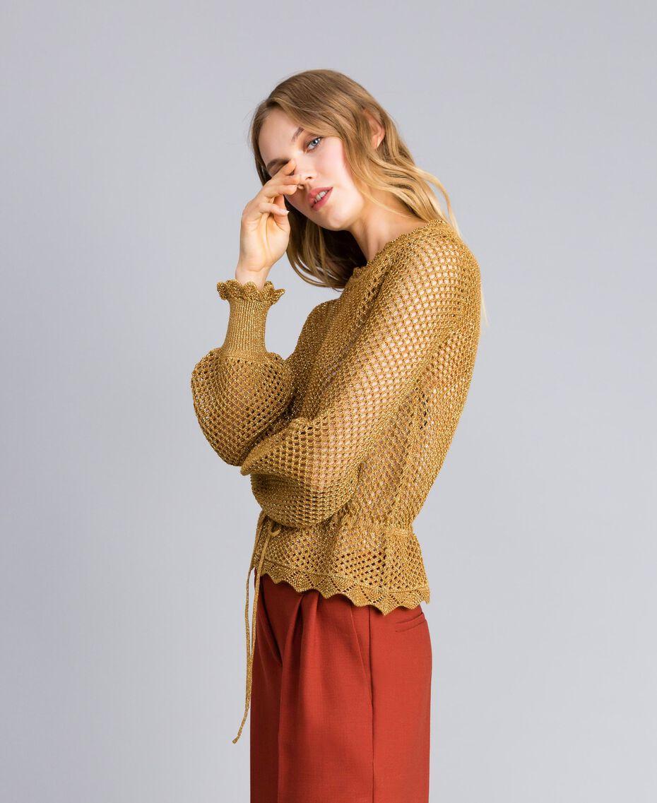 Pullover aus Lurex mit Netzmuster Gold Gelb Frau TA83EB-02