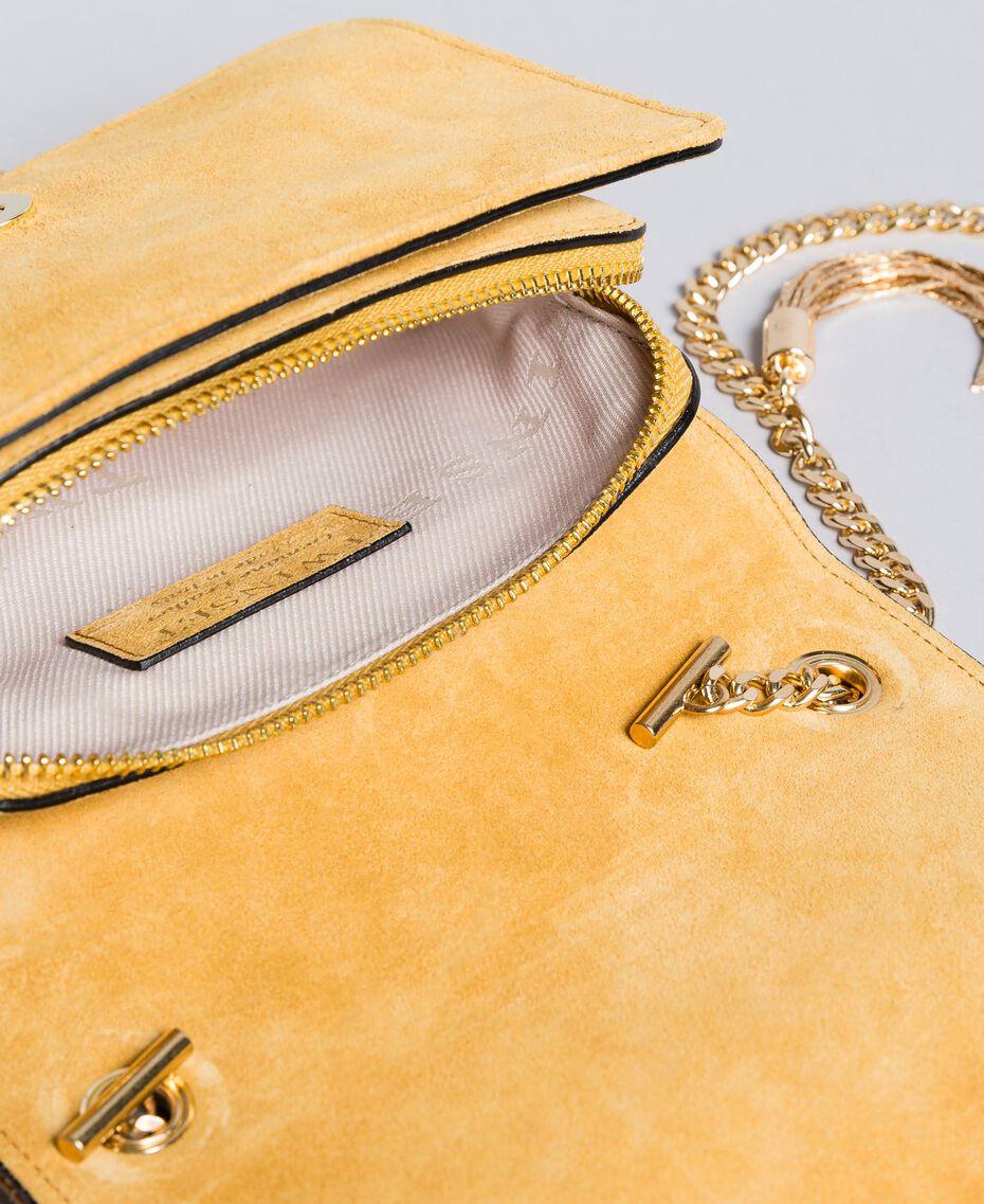 Mini sac à bandoulière en cuir velours Ocre Foncé Femme OA8TD2-05