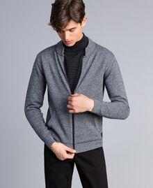 Cardigan aus Baumwolle und Wolle mit Reißverschluss Zweifarbig Mattweiß / Schwarz Mann UA83BA-04
