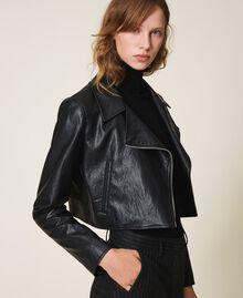Укороченная куртка-косуха из искусственной кожи Черный женщина 202TP230A-02