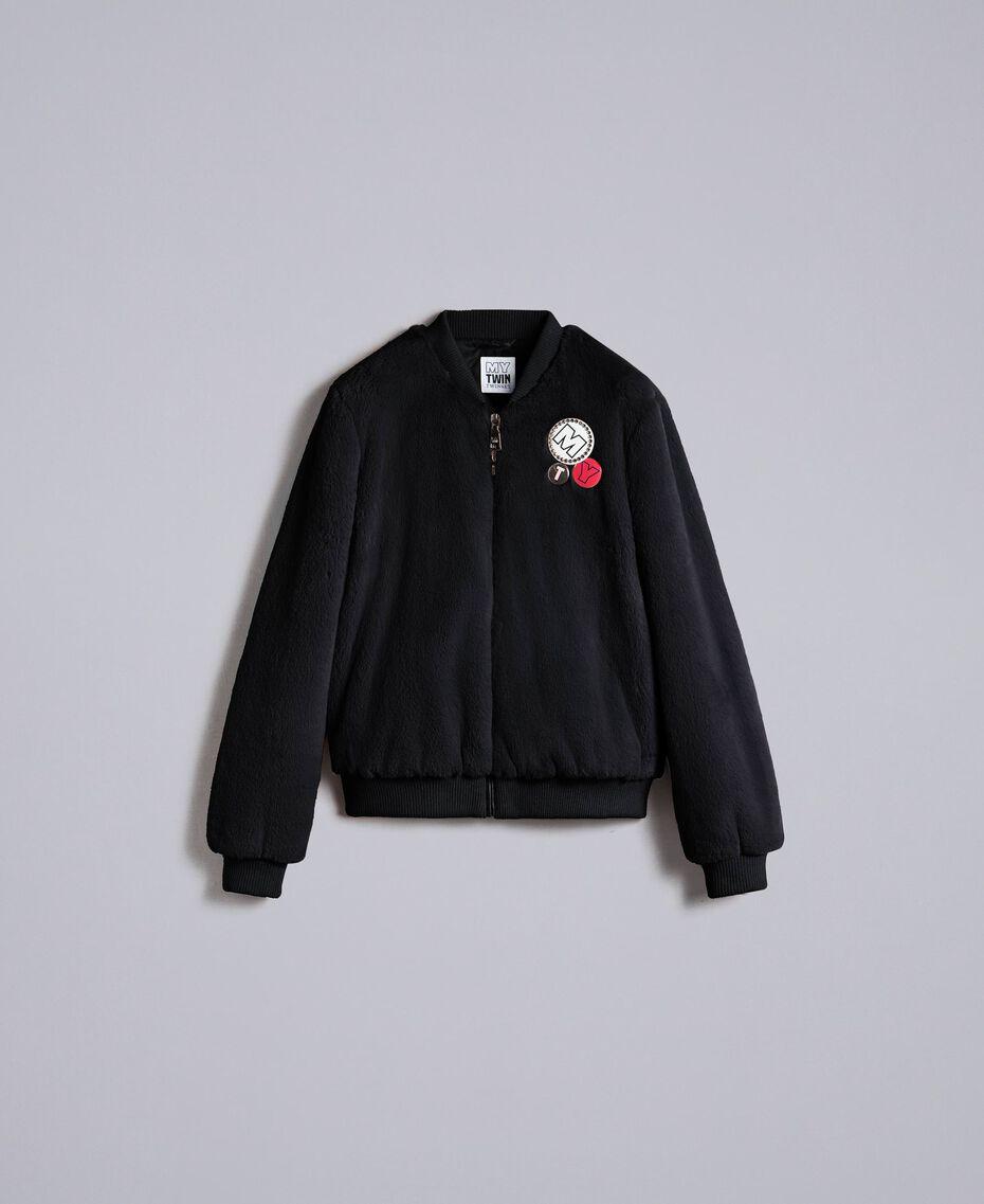 Faux fur bomber jacket Black Woman JA82KA-0S