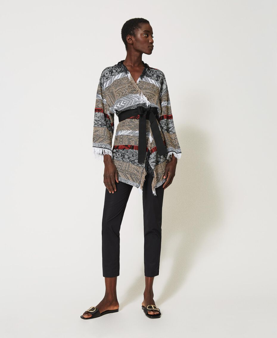 Jacquard maxi cardigan with fringes Multicolour Jacquard Textured Woman 211TT3271-01