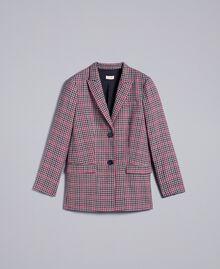 Veste en flanelle à carreaux Jacquard Carreaux Gris / Rouge Femme SA82FA-0S