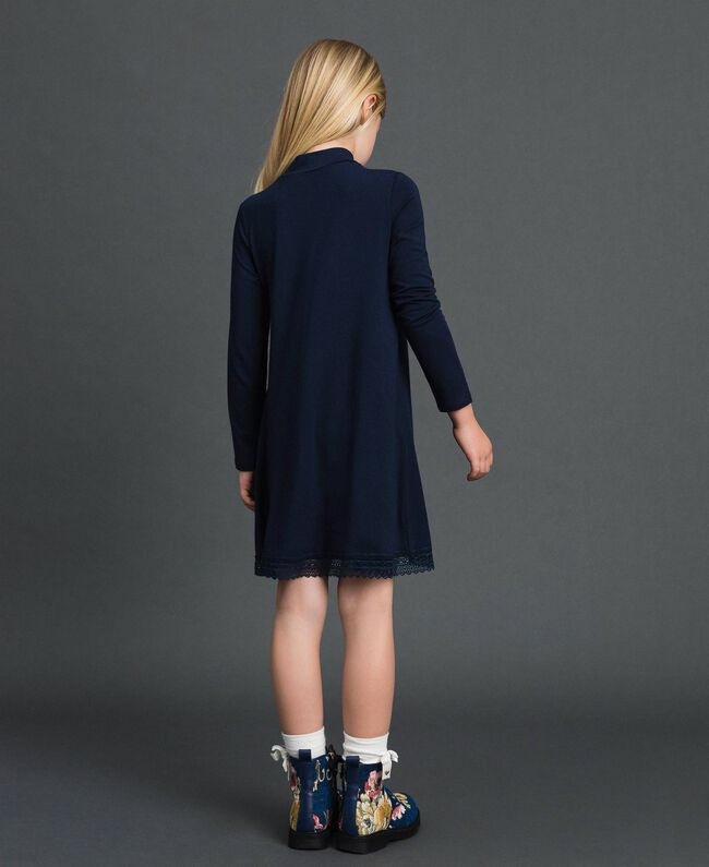 Kleid mit Spitze und Strasslogo Blue Night Kind GCN2F1-03
